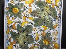 "Italian Faience Majolica Art Tile GRAPE LEAVES 9"""