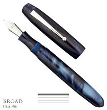 Edison Collier Blue Steel Broad Point Fountain Pen - NEW In Gift Box