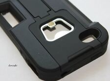 iPHONE 4 4G 4S - HARD & SOFT RUBBER HEAVY DUTY CASE BLACK BEER BOTTLE OPENER