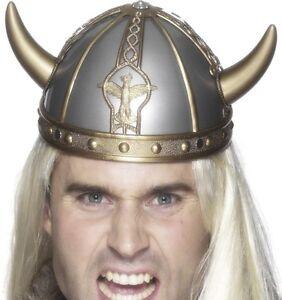 Adult Viking Helmet with Horns Fancy Dress Vikings Hat by Smiffys New