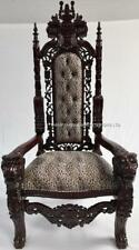ORNATE LARGE LION KING THRONE CHAIR MAHOGANY ANIMAL PRINT STAGE EVENT DINING