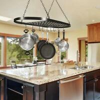 32'' Kitchen Storage Hanging Pot Holder Pan Hanger Shelf Cookware Rack 10 Hooks