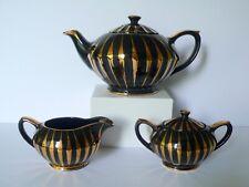 Vintage SADLER Black Teapot Creamer Sugar Bowl Set