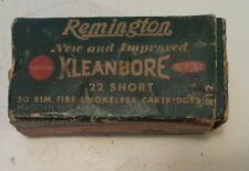 "VINTAGE AMERICAN ""REMINGTON 22 SHORT RIM-FIRE KLEANBORE"" CARDBOARD BOX - EMPTY"