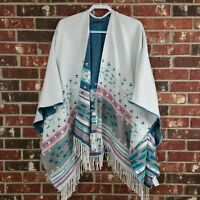 American Eagle Outfitters Women's One Size White Green Aztec Poncho Wrap Fringe