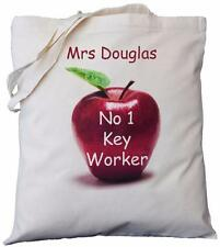 PERSONALISED - NO 1 KEY WORKER - APPLE DESIGN - COTTON BAG gift
