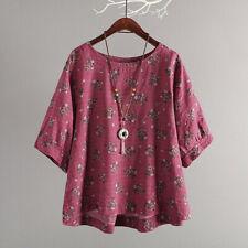Women Casual Cotton Top T Shirt Half Sleeve Vintage Boho Floral Loose Shirt CA