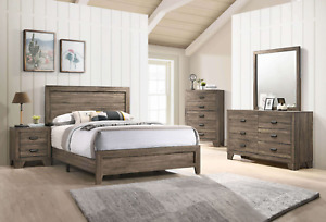 NEW 5PC Rustic Brown Queen King Twin Full Bedroom Set Modern Furniture B/D/M/N/C