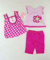 NANNETTE SALE Pink BABY GIRL'S 3 Pieces Dress Pants Outfit Set NWT Size 18M SALE