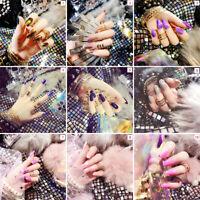 24pcs Shiny Mirror False French Full Finger Nail Tips Fake Art Cover Manicure-