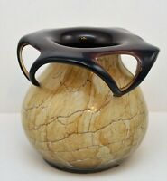 ART GLASS STUDIO HAND BLOWN MARBLED VASE BROWN BEIGE POLAND