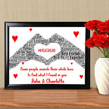 Personalised Word Art For Him Her Anniversary Gifts Husband Wife Keepsake Card
