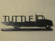 FLATBED TRUCK(YOUR NAME) MAILBOX TOPPER TEXTURED BLACK POWDER COAT FINISH