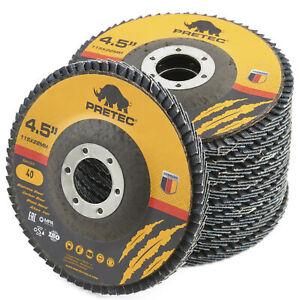 "10 x Pretec Flap Grinding Sanding Discs 115mm 4.5"" 40 60 80 120 Grit Angle Wheel"