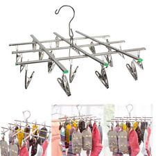 20 Pegs Clip Swivel Hook Underwear Socks Bra Gloves Drying Rack Clothes Hanger
