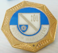 BOLTON WANDERERS FC Vintage 1970s insert type badge Brooch pin In gilt 31mm Dia