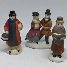 Lot Of 3 Christmas Village Accessories Dancing Couple People Choir Mass