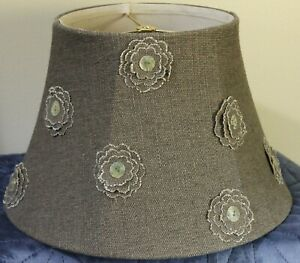 "Taupe Burlap Lampshade With Flowers 10"" Tall"