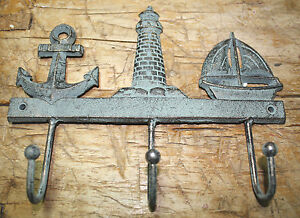 Cast Iron NAUTICAL Towel Coat Hooks Hat Hook Key Rack ANCHOR LIGHTHOUSE SAILBOAT