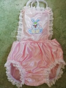 CD ADULT BABY SISSY PINK SATIN, PVC LINED ROMPERS