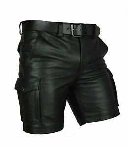 MENS CARGO SHORTS SEXY GAY FETISH CLUBWEAR SHORT POLICE LEATHER PANTS