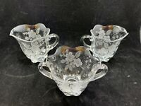 Vintage matching lot of 3 flower etched Crystal Sugar bowl and 2 creamers