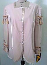 SOGIC 24W woman plus blazer suit jacket beige tassels rhinestone button up size