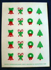 Vintage 1984 Current Christmas Shapes Stickers 4 Sheets 80 Stickers Candy Canes