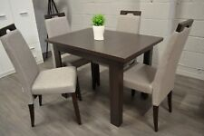 SET of wenge extending dining table and 4 wooden chairs with grey fabric Arte2