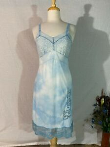Vtg 80-90s Baby Blue Full Slip Nighty Dress Pale Tie Dye Lace Floral Accent XS