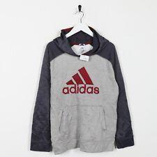 Vintage Kids ADIDAS Polyester Big Logo Hoodie Sweatshirt Grey XL