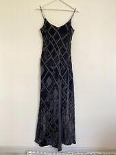 August Silk black long velvet And Silk details slip dress size UK14