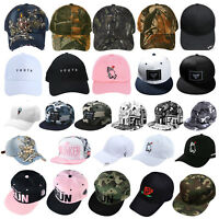 Unisex Men Women Baseball Cap Plain Bboy Snapback Hats Hip-Hop Brim Adjustable