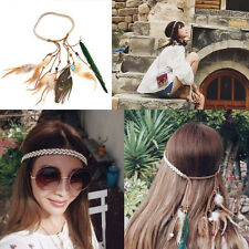 Vintage Feather Forehead Tiara Headband Headwrap Ethnic Style Hair Accesories