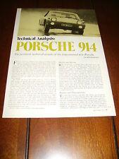 1970 PORSCHE 914  ***ORIGINAL VINTAGE ARTICLE***