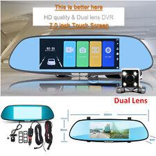 7'' 1080P Dual Lens Car Truck Dash Camera DVR Rearview Mirror Video Cam Recorder
