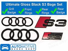 Audi S3 Gloss Black Badge - Rings Grille Boot Badge Emblem Ultimate Kit