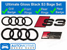 Audi S3 Gloss Black Badge - Rings Grille Boot Badge Emblem Ultimate Kit