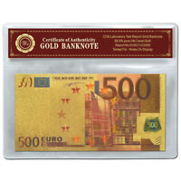 WR Europe €500 Euro Banknote Colour Gold 24K Limited Collector Note Holiday Gift
