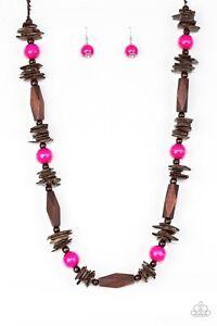 Cozumel Coast - Pink Wood Necklace Jewelry Set Paparazzi Accessories
