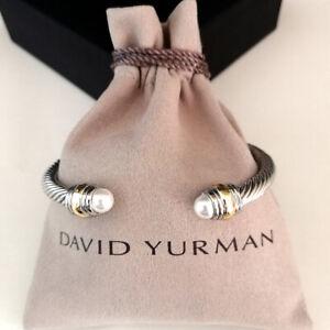 David Yurman Cable Cuff Pearl Bracelet 5mm Sterling Silver & 14k Gold Bangle M
