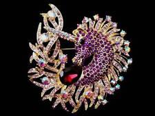 "3"" Unicorn Horse Zircon Drop Purple Rhinestone CRYSTAL Gold Tone Pin BROOCH"