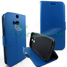 Custodia BLU eco pelle per HTC One M8 BOOKLET stand+tasche porta schede cover