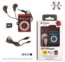 Lettore  MP3 4GB XTREME SLOT MICRO SD AURICOLARI JACK 3,5  VARI COLORI