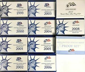 1999 through 2009 PROOF SETS COMPLETE RUN OF 11 SETS