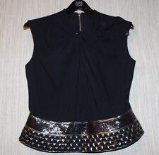 Carmen Marc Valvo Collection Sleeveless Metallic Embellished Top Black Top SZ.10