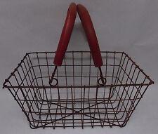 "13.5"" x 9.5"" x 7"" Rustic Rusty Rectangular Wire Shopping Basket Storage Basket"