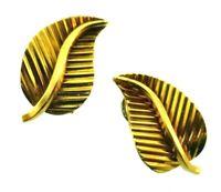 GUBELIN Swiss 18k Yellow Gold Leaf Clip On Earrings Vintage & Rare