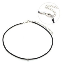 Fashion Short Black Leather Rope Jewelry Choker Necklace Silver Metal Beads