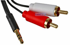 SLIM 3m 3.5 mm AUX Jack to TWIN 2 RCA RED WHITE Phono Plugs Audio Cable Lead